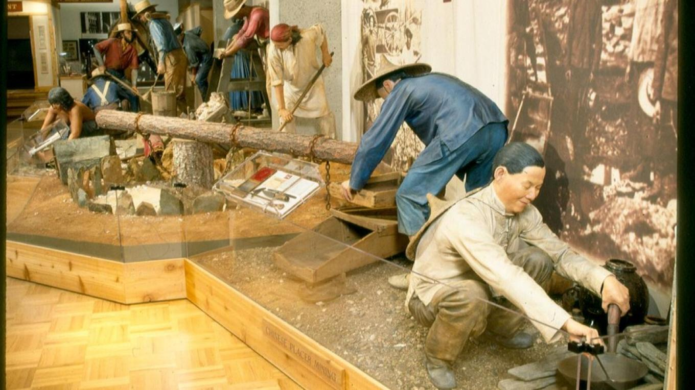 Gold Rush diorama, once on exhibit at the Oakland Museum, recently acquired by STCHS from the State Museum Resource Center, will someday be displayed at the Wells Fargo Building, Big Oak Flat. – Denise Henderson