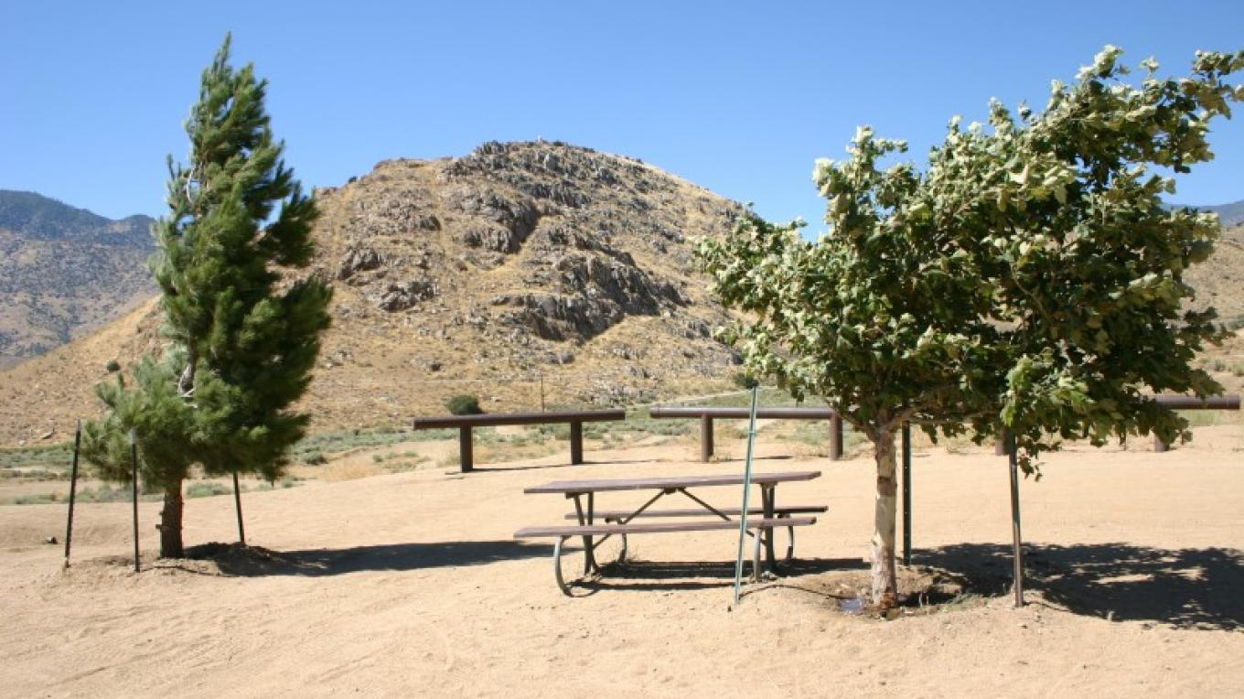 One of three picnic tables at the raised spectator area. – Cody Norris