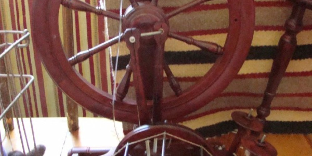 Spinning wheels abound and are used at the Warner Mountain Weavers – Jean Bilodeaux