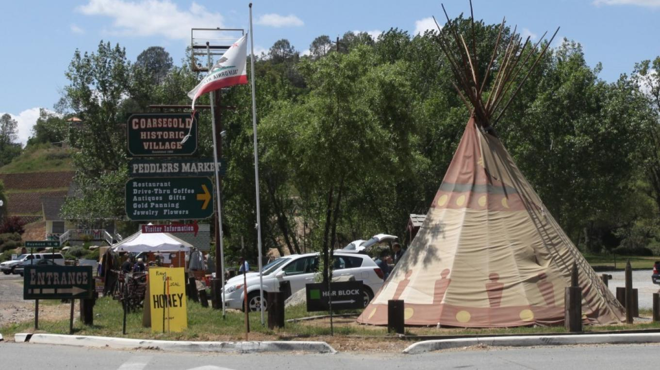 entrance to village and tepee