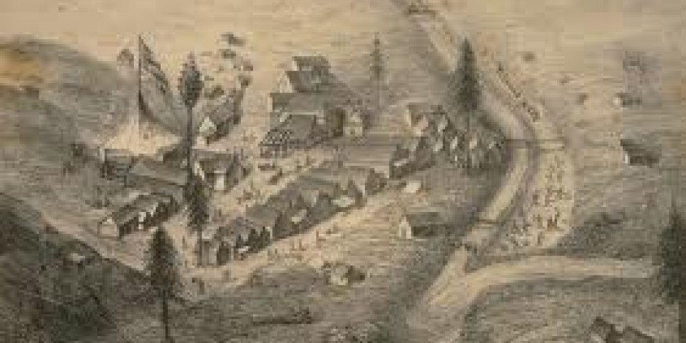 """Historic photo of Downieville """"Forks"""" – http://content.cdlib.org/ark:/13030/tf0h4nb400/"""