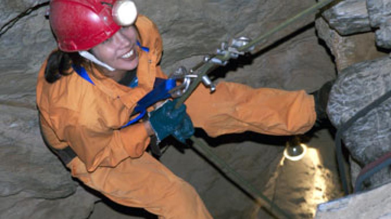 The beginning of the rappel into Moaning Cavern. – Bill Becher