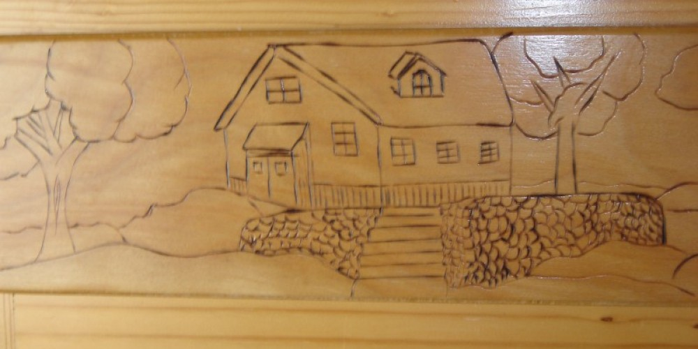 Custom Wood working detail deplicts history of the area – Carla Thorn