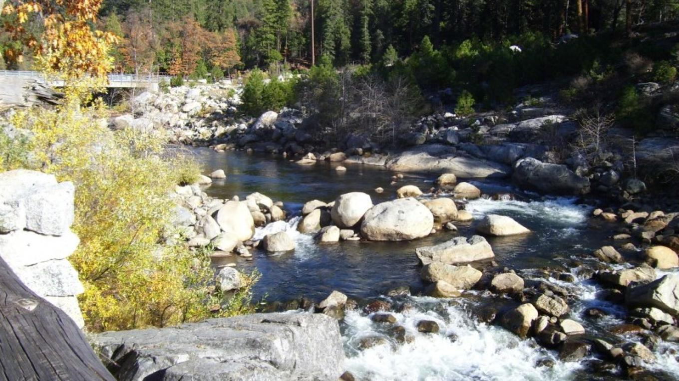 North Fork of the Stanislaus River, with new bridge in the background – Mike Needs