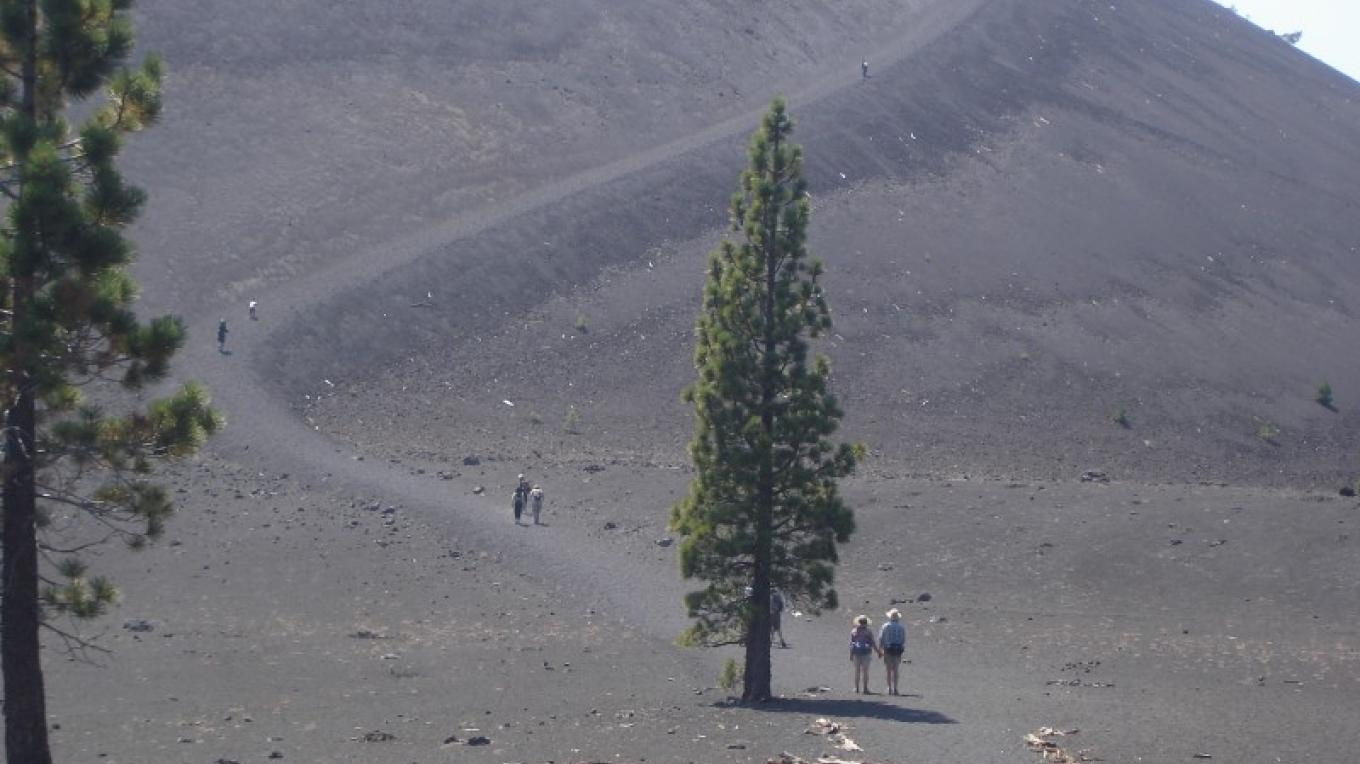 Hikers on trail to top of Cinder Cone. – Ben Miles