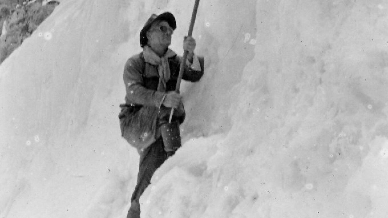 Pioneering Eastern Sierra mountaineer Norman Clyde on the Palisade Glacier. – Eastern California Museum
