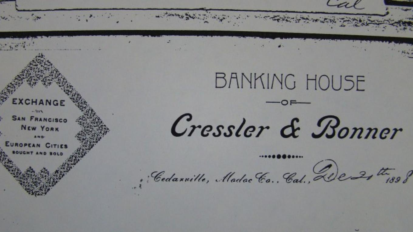 The Bank of Cressler and Bonner was the first bank in Modoc County. The vault is still visible inside today. – Jean Bilodeaux