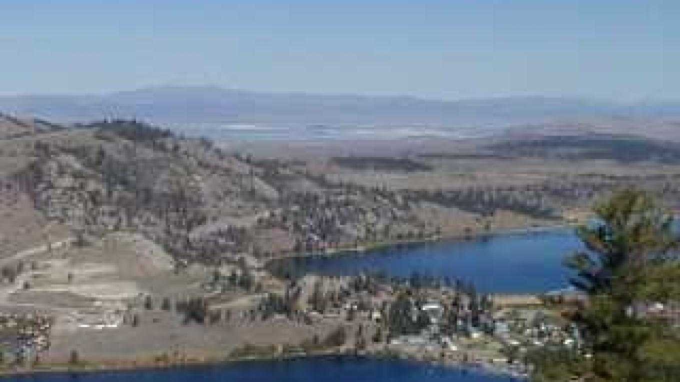 Birds eye view of Gull and June Lakes