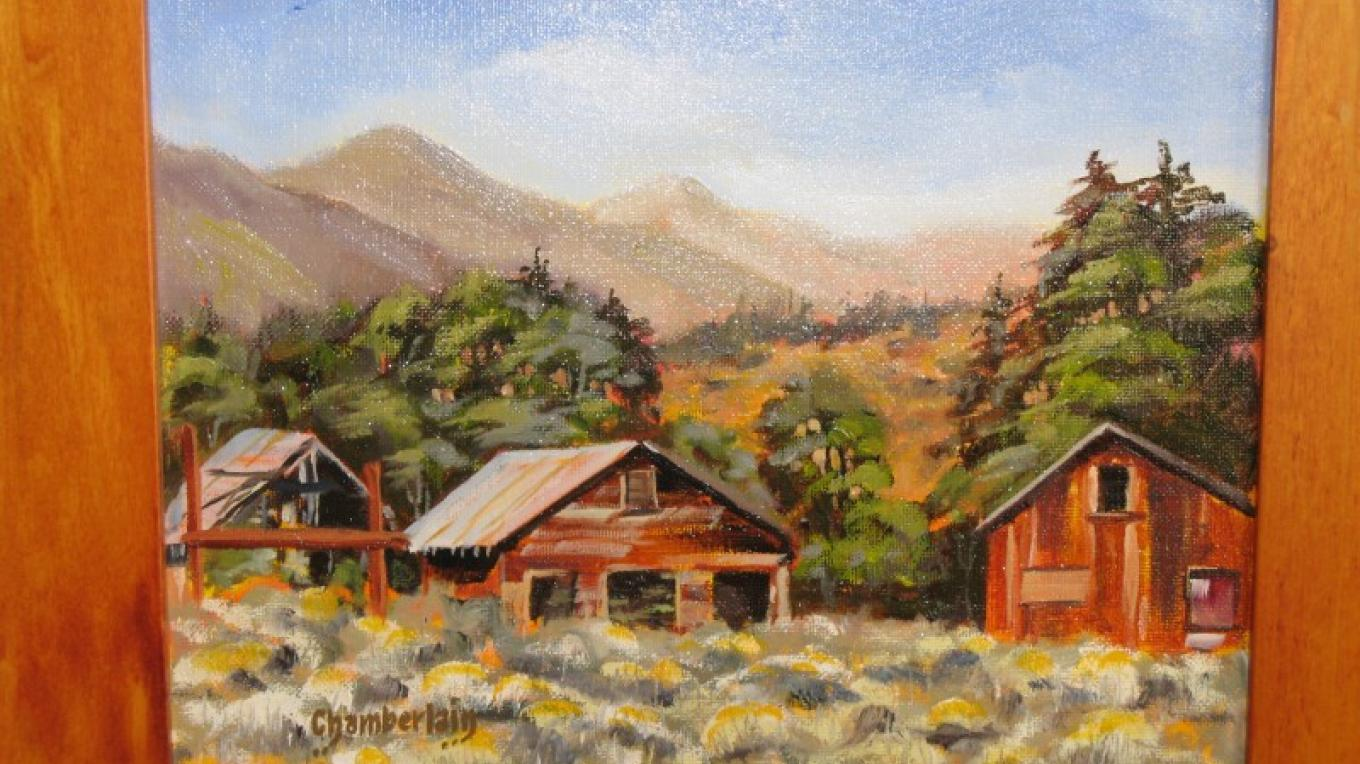"""""""Home Sweet Homes"""" Perched on hillside next to Highway 178 just below the Walker Pass Summit Paul Chamberlain Painting – Charles Topping"""