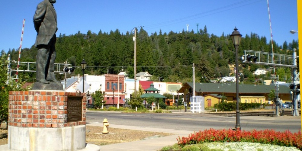 Schuyler Colfax looking over the small railroad town named after him. – connie heilaman