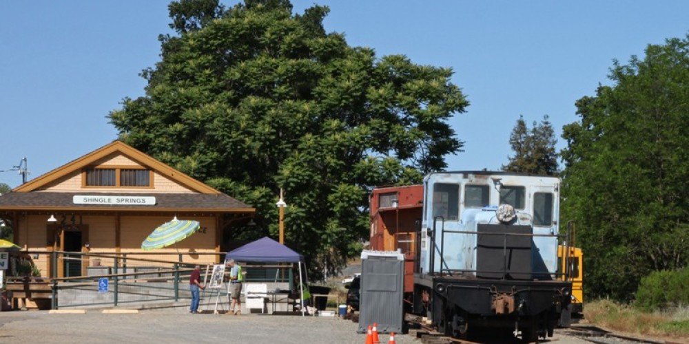 Shingle Springs rail station, Placerville & Sacramento Valley Railroad's weekend track car rides. – Ray Anderson