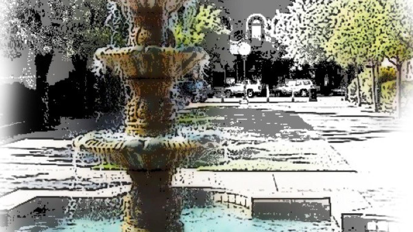 Beermann Plaza Site of many events and gatherings! Fountain by Jesse Cardenas for Gladding McBean. In the background, the IOOF hall first built in the 1880s, now Beermann's Restaurant. – photo art by Jean Cross