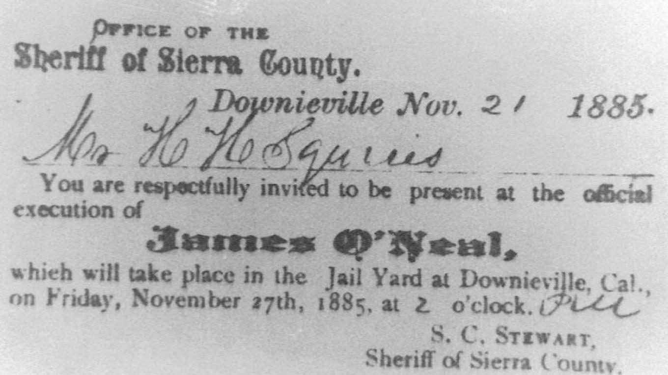Sheriff's invitation of 1885 to the execution of James O'Neill – Lee Adams
