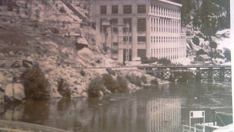 Big Creek Powerhouse # 1, afterbay and dam.