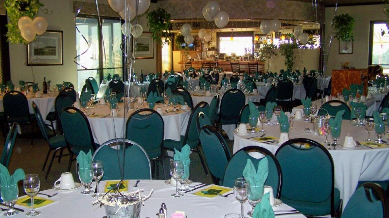 Dining room decked out for party – courtesy Mountain Springs Golf Course