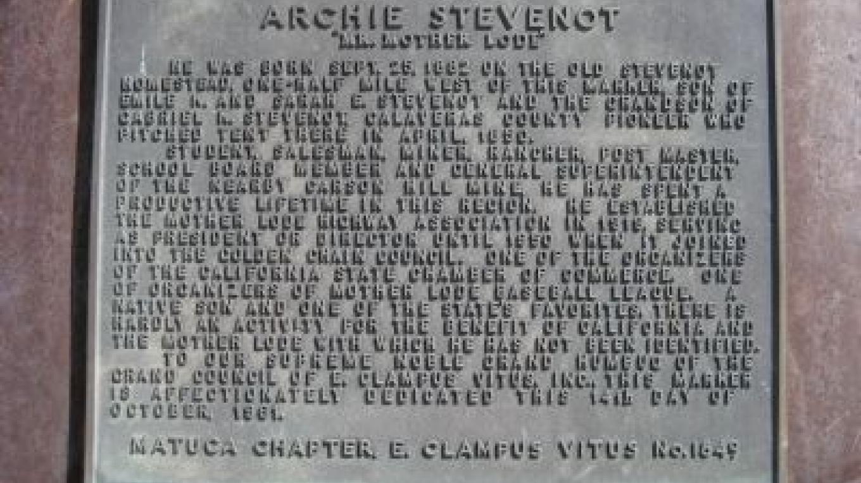 Archie Stevenot marker – Richard Wisehart/Historical Marker Database