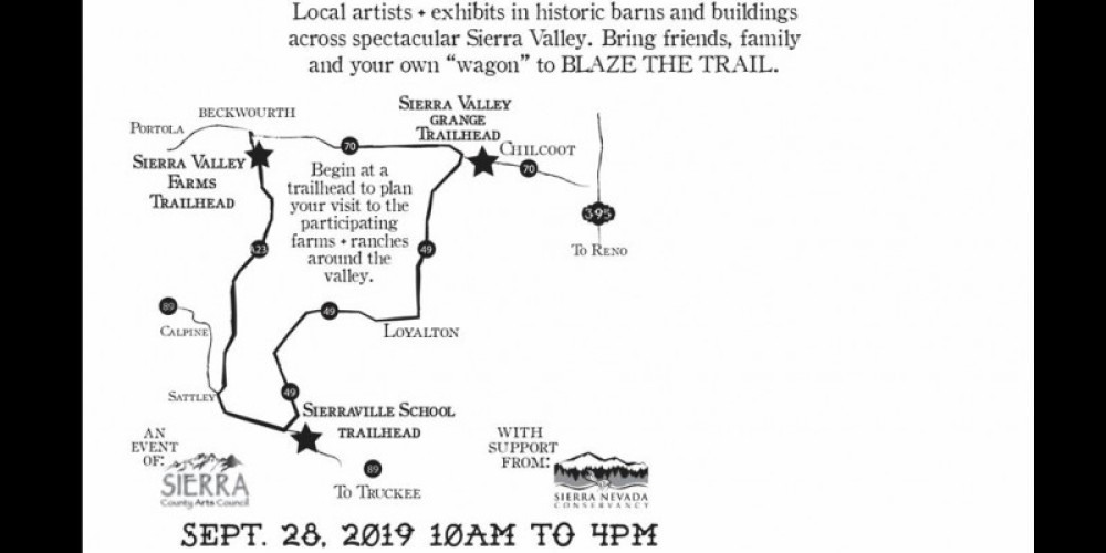 Start your tour on September 28 at one of three Trailheads in Sierraville, Beckwourth or Vinton. – - graphic design by Lis Henson