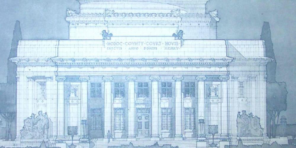 This is a blueprint sketch made by Frederick J. DeLonchamps. This was the first view of what the courthouse would look like before being built in 1914.