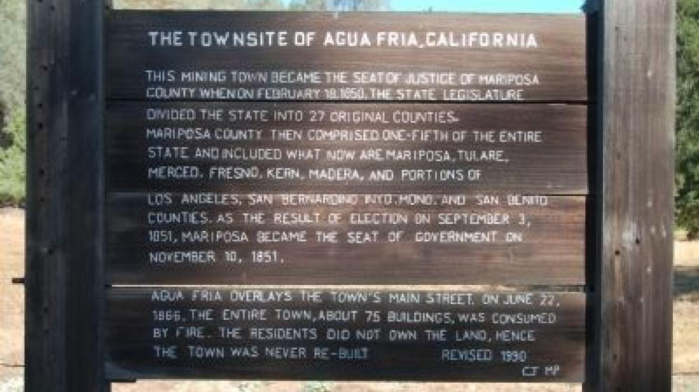 Marker for historic townsite for Agua Fria – Historic Marker Database