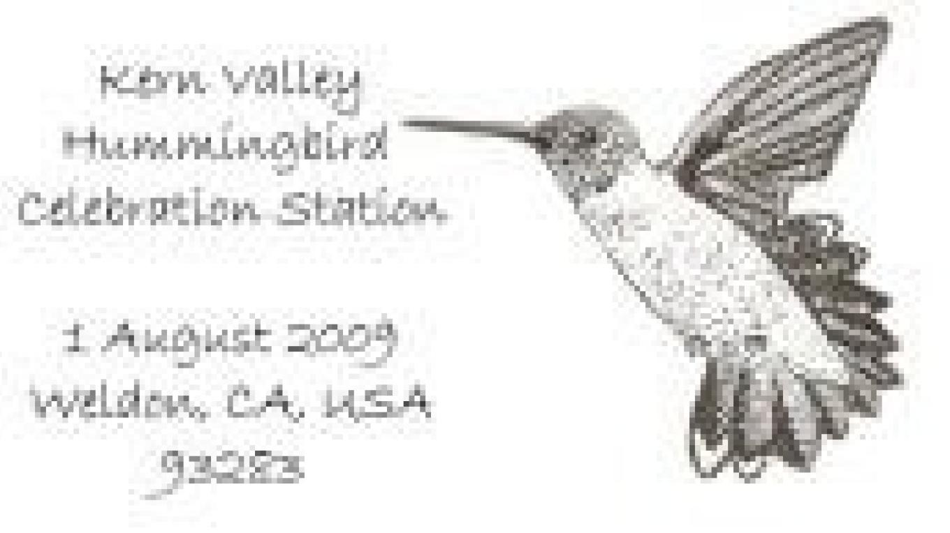 Here is the 2009 Hummingbird Celebration postal cancellation. Artwork by Alison Sheehey. – Alison Sheehey