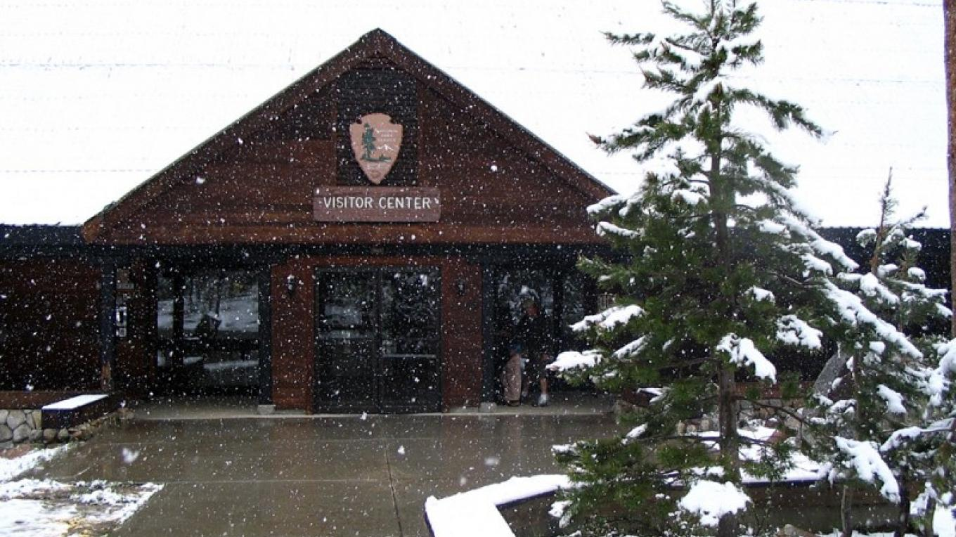 It's a winter wonderland at Lodgepole Visitor Center. Bring some snowshoes, skis, or sleds for some outdoor fun in the area. – National Park Service photo - Rick Cain