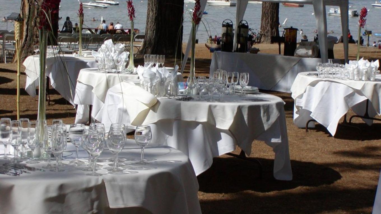 Beachside wedding reception – Camp Richardson Resort