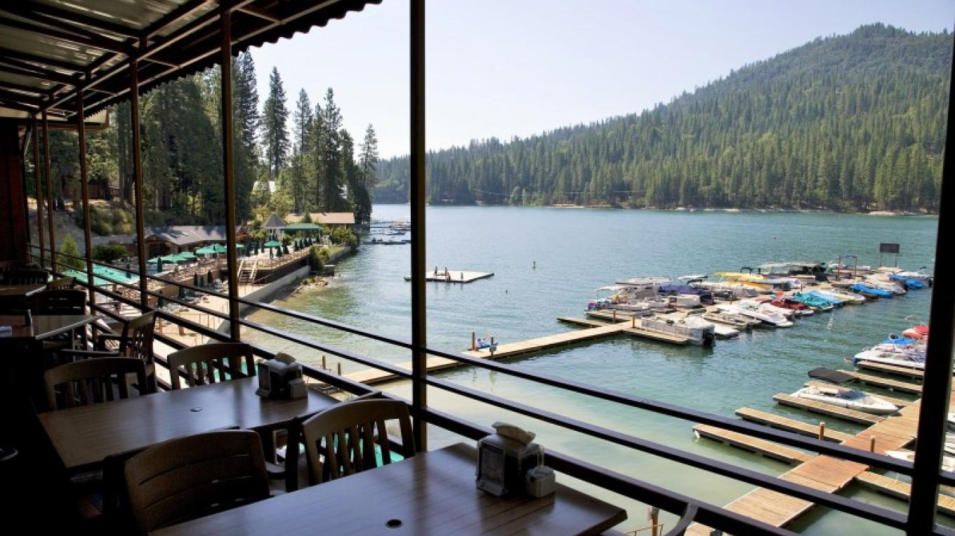 Bar & Grill deck with the view – www.basslake.com
