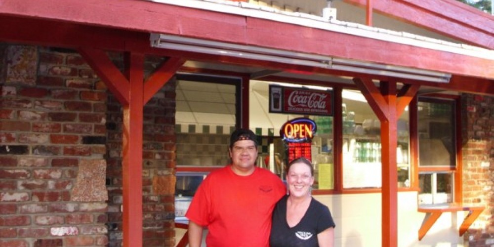 """Darlene and  """"Chief"""" Anthony Tripp in front of Miwok Inn Diner – Rebecca Martinez"""