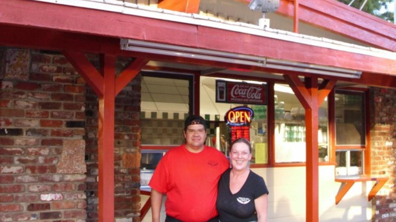 "Darlene and  ""Chief"" Anthony Tripp in front of Miwok Inn Diner – Rebecca Martinez"
