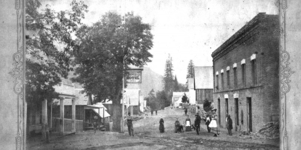 The Wells Fargo building in Sierra City looking northwest long before there was any pavement. – unknown