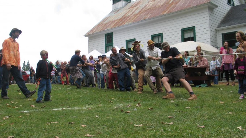 Community Tug o' War on the Schoolhouse lawn.