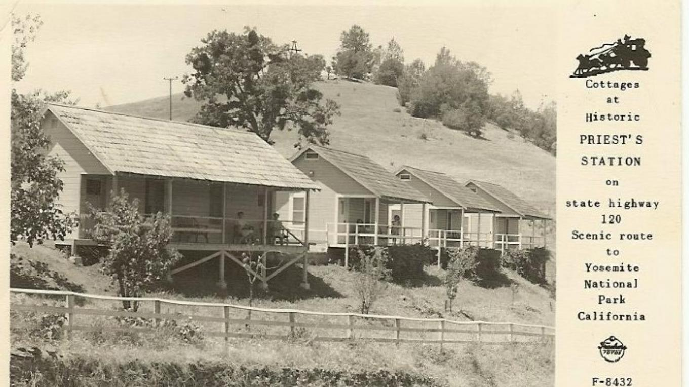 Postcard of Priest Station, early 1950s.  Cabin on the far left has been renovated into the present-day cafe.