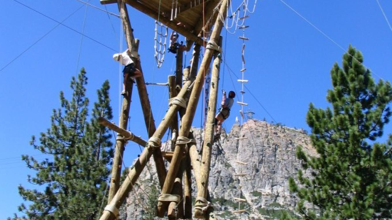 Squaw Valley Adventure Center Ropes Course with the Tram Face in the background
