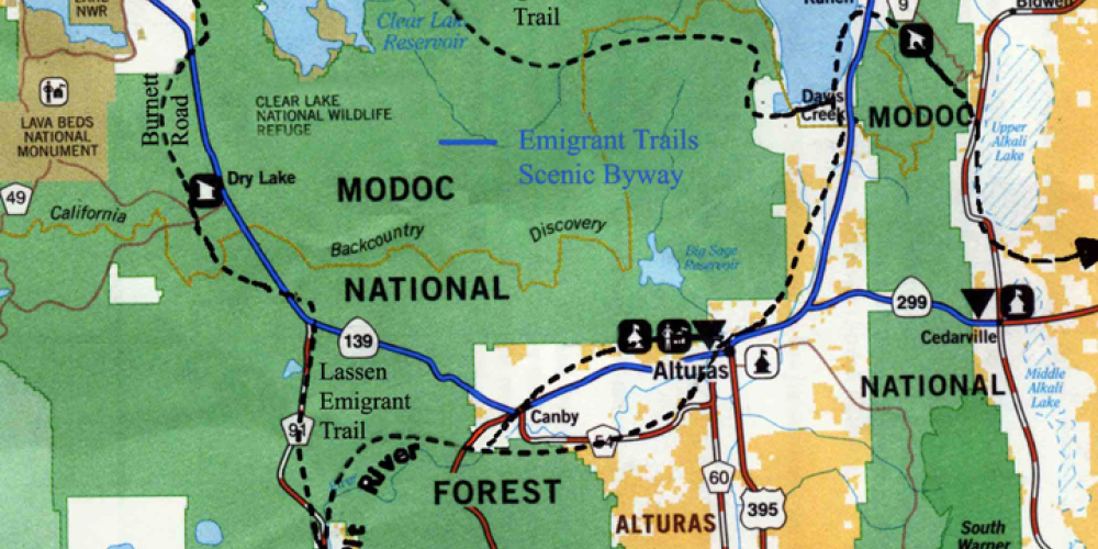 Emigrant Trail Scenic Byway Map – Provided by Modoc National Forest