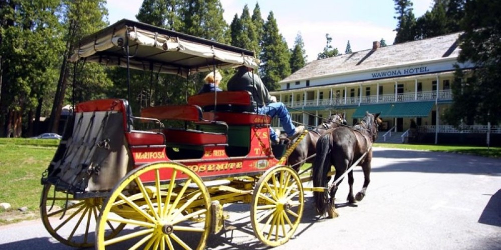 Carriage ride in front of the Big Trees Lodge