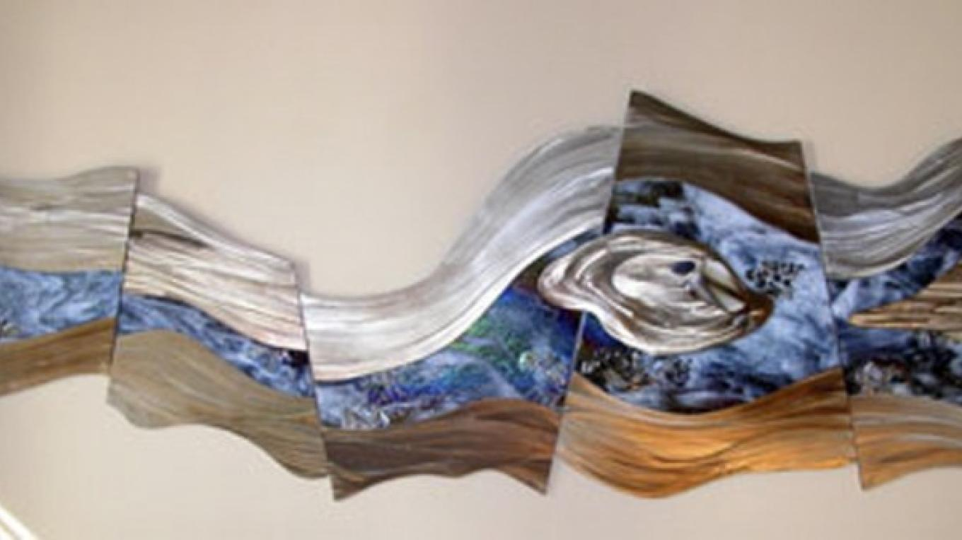 """Deanna Marsh's """"Untitled"""" steel and glass river (wall mount 4' x 18"""") is an example of exquisite original work crafted at OLAS."""
