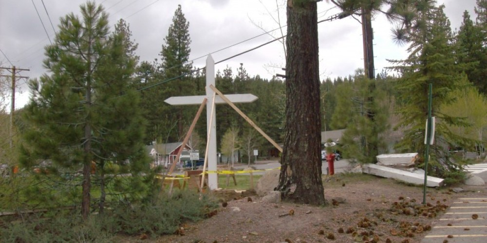 The Donner Cross standing. – © 2010 Truckee Donner Historical Society All Rights Reserved