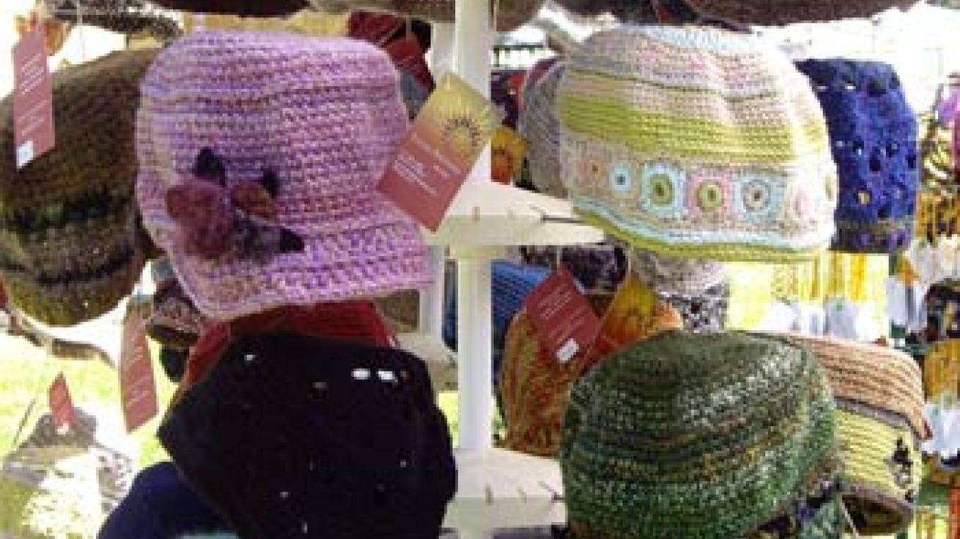 Hats hand made by crochet artist Lucia Biunno. – Roxanne Valladao