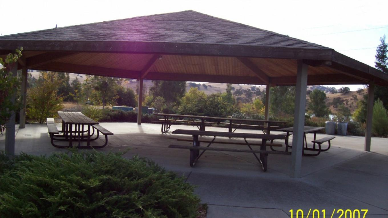 Picnic shelter by group camping sites.