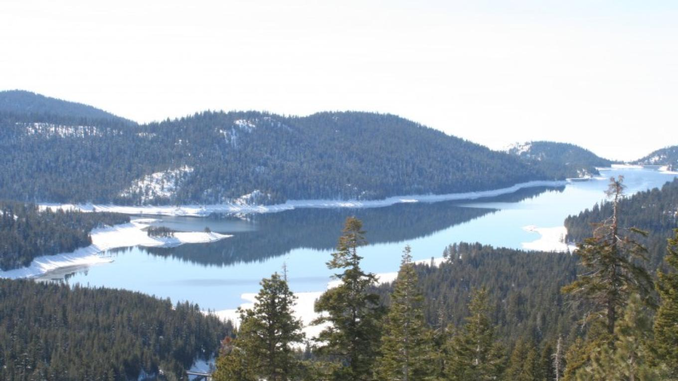 Huntington Lake in the winter from snowmobile trail look out, Kaiser Pass Road. – Gabrielle Kant