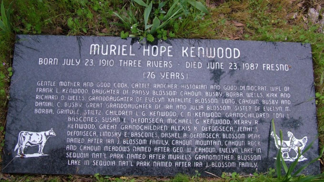 The family history of Muriel Kenwood is intertwined with Three Rivers and Sequoia National Park history and will never be forgotten. – John Elliott