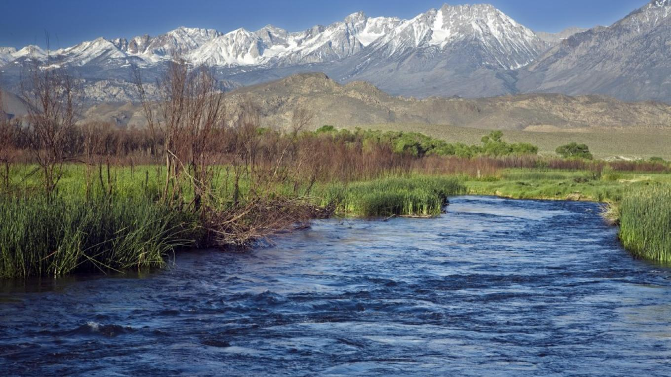 The Sierra forms the backdrop for the Owens River as it slice through the valley floor near Bishop.