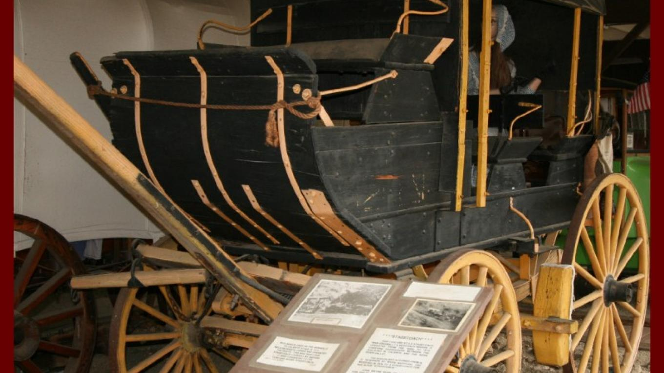 "Stagecoach that was used in the award winning movie ""Stagecoach"", starring John Wayne. – Liz Bardos"