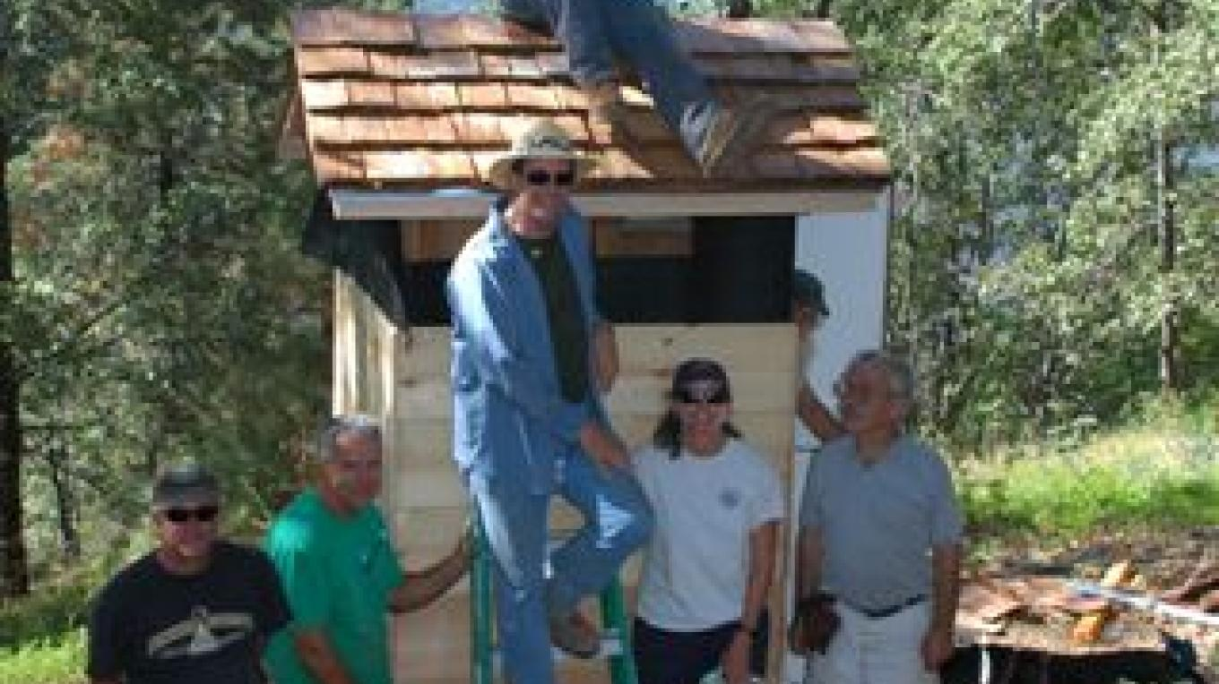 Volunteers rebuild the outhouse at Delilah Lookout – Joe Sobelman