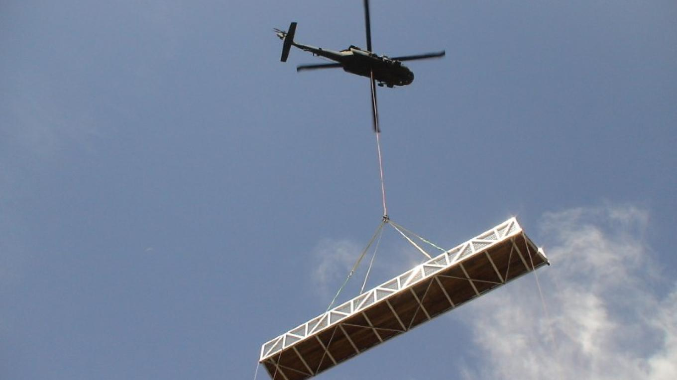 Blackhawk helicopter transporting bridge section at Big Sandy site - Reach 2 – Steve Haze
