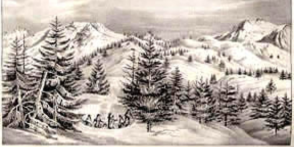 """Drawing by Charles Preuss at Long Camp on Feb. 14th, 1844. Fremont: """"Annexed is a view of the dividing ridge of the Sierra, taken from this encampment. With Mr. Preuss, I ascended today the highest peak to the right"""" – longcamp.com"""