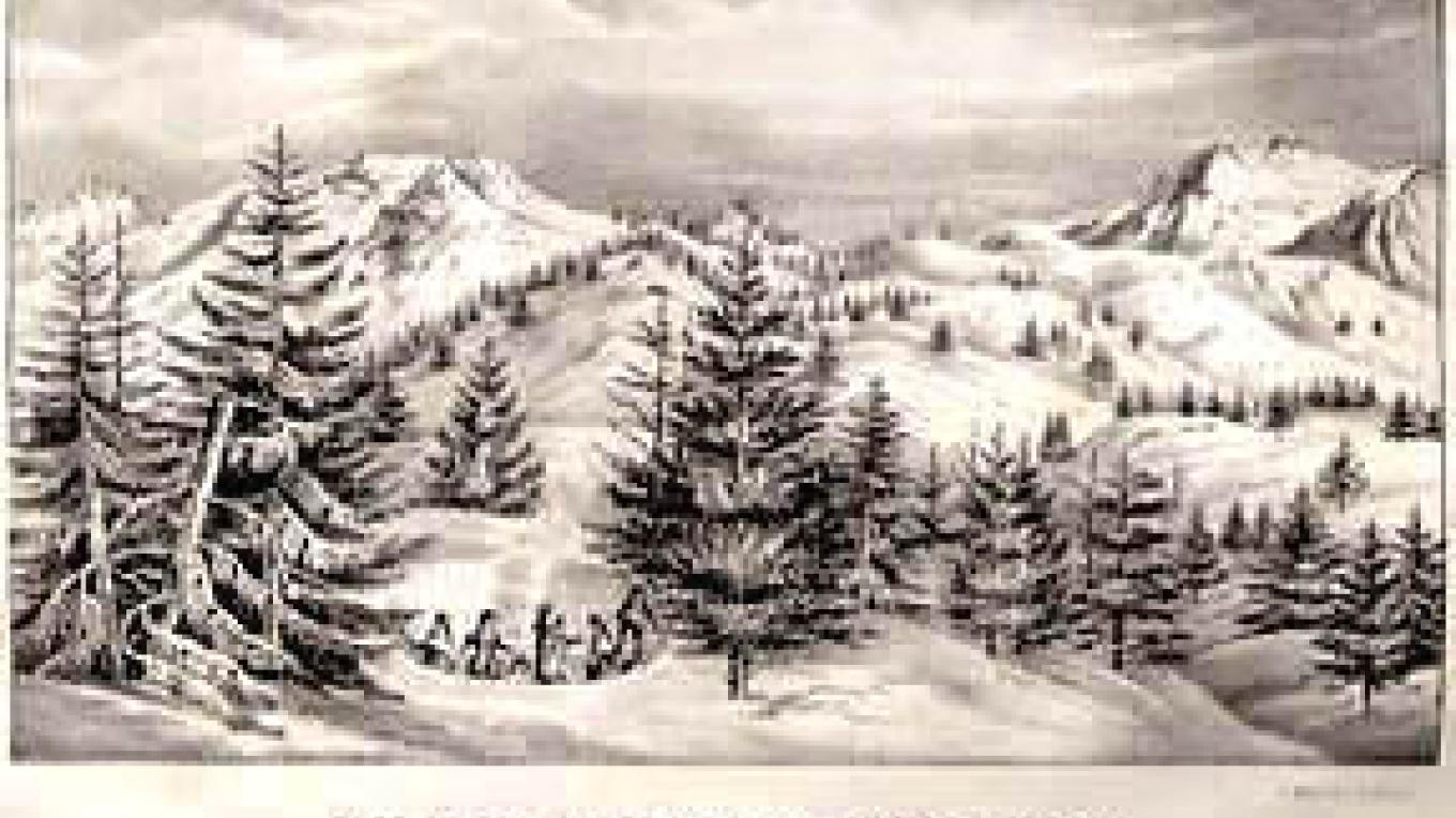 "Drawing by Charles Preuss at Long Camp on Feb. 14th, 1844. Fremont: ""Annexed is a view of the dividing ridge of the Sierra, taken from this encampment. With Mr. Preuss, I ascended today the highest peak to the right"" – longcamp.com"