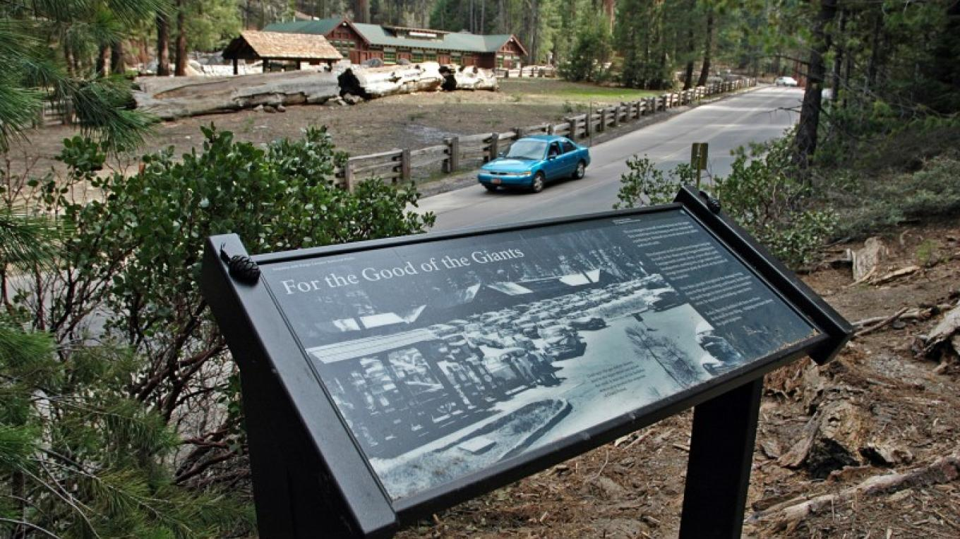 Outdoor exhibits help tell the story of the giant sequoia trees and the National Park Service's efforts to protect them. – National Park Service photo - Rick Cain
