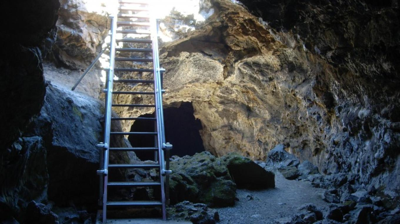 Blue Grotto Cave at the Lava Beds National Monument. – by David Hays