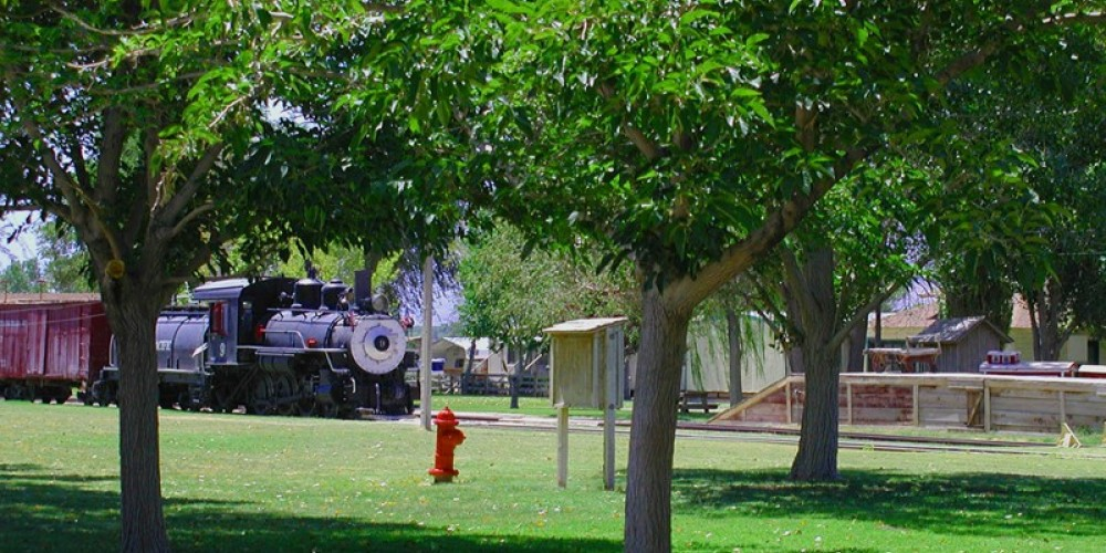 Historic Southern Pacific Train on museum grounds.